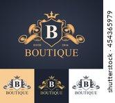 elegant luxury monogram logo or ... | Shutterstock .eps vector #454365979