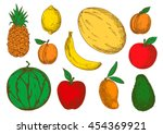 colorful sketch of vegetarian... | Shutterstock .eps vector #454369921