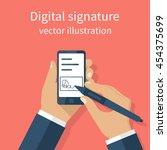 digital signature on smartphone.... | Shutterstock .eps vector #454375699