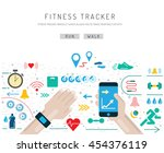set of icons fitness bracelet.... | Shutterstock .eps vector #454376119