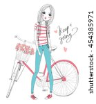 girl with bike | Shutterstock .eps vector #454385971