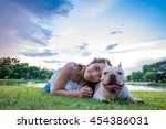 french bulldog and owner in the ... | Shutterstock . vector #454386031