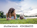 french bulldog and owner in the ... | Shutterstock . vector #454386055