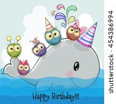 birthday card cute cartoon... | Shutterstock .eps vector #454386994