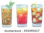 hand drawn set of watercolor... | Shutterstock . vector #454390417