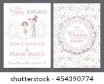 vintage wedding invitation... | Shutterstock .eps vector #454390774