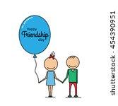 happy friendship day. flat line ... | Shutterstock .eps vector #454390951