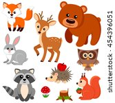 forest animals. fox  bear ... | Shutterstock .eps vector #454396051