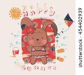 rabbit bunny on the beach hand...   Shutterstock .eps vector #454402939