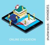 isometric online education... | Shutterstock .eps vector #454408351