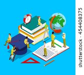 isometric education concept.... | Shutterstock .eps vector #454408375