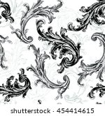 baroque pattern with black... | Shutterstock .eps vector #454414615