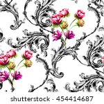 baroque pattern with scrolls... | Shutterstock .eps vector #454414687
