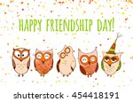 happy friends enjoying... | Shutterstock .eps vector #454418191