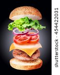 flying burger ingredients on a... | Shutterstock . vector #454422031