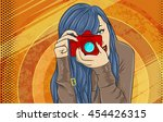 comic book girl pop art... | Shutterstock .eps vector #454426315