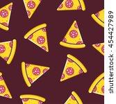pizza slices wallpaper pattern... | Shutterstock .eps vector #454427989