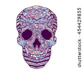 vector hand drawn color skull... | Shutterstock .eps vector #454429855