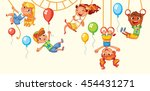 children have fun on the rides. ... | Shutterstock .eps vector #454431271