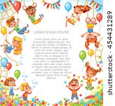 Amusement park. Playground. Children have fun on the rides. Template for advertising brochure. Ready for your message. Children look up with interest. Funny cartoon character. Vector illustration | Shutterstock vector #454431289
