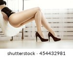 beautiful sexy lady in elegant... | Shutterstock . vector #454432981