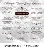 handmade tattoo lettering and... | Shutterstock .eps vector #454433554