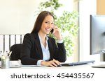 portrait of a happy executive... | Shutterstock . vector #454435567