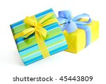 Gift boxes with ribbons and bows  on white background - stock photo