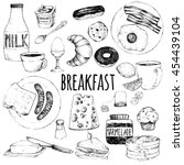vector doodle set. breakfast.... | Shutterstock .eps vector #454439104