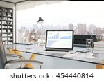 workplace with business chart... | Shutterstock . vector #454440814