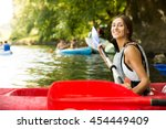 brunette woman smiling in a...   Shutterstock . vector #454449409