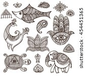 indian mehndi decor elements... | Shutterstock .eps vector #454451365