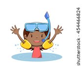 girl swim  inflatable armbands  ... | Shutterstock .eps vector #454466824