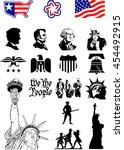 usa symbols   icon set | Shutterstock .eps vector #454492915