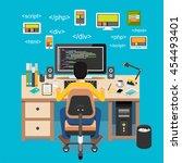 web developer. website... | Shutterstock .eps vector #454493401