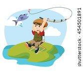 a boy was fishing | Shutterstock .eps vector #454501891