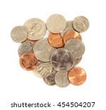 Pile Of Americans Coins On A...