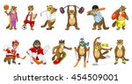 set of cute beavers wearing... | Shutterstock .eps vector #454509001
