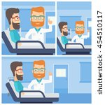 hipster doctor visiting male... | Shutterstock .eps vector #454510117