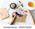 postcard letters tea desk... | Shutterstock . vector #454513639
