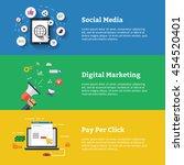social media. digital marketing.... | Shutterstock .eps vector #454520401