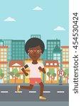 an african american woman... | Shutterstock .eps vector #454530424