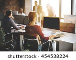mockup copy space blank screen... | Shutterstock . vector #454538224