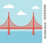 golden gate bridge illustration.... | Shutterstock .eps vector #454539589