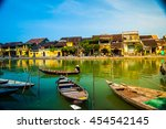 traditional boats in front of... | Shutterstock . vector #454542145
