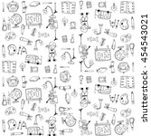 cute school doodles element... | Shutterstock .eps vector #454543021
