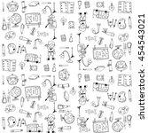 cute school doodles element... | Shutterstock .eps vector #454543021