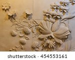 Flowers Carved Sandstone On Th...