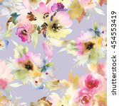 seamless pattern with flowers... | Shutterstock . vector #454553419