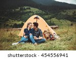 a couple of tourists in time of ... | Shutterstock . vector #454556941
